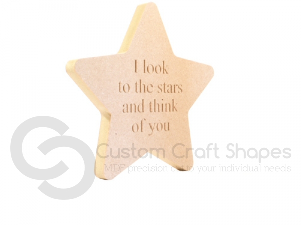 Freestanding Engraved Rounded Point Star, 'I look to the stars...' (18mm)