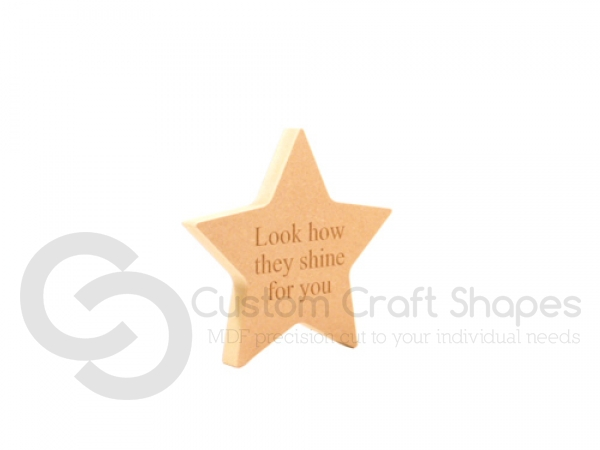 "Freestanding engraved star, ""Look how they shine for you"" (18mm)"