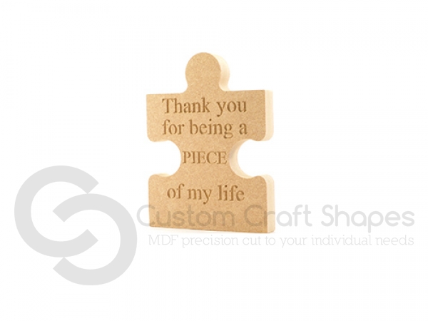 Freestanding, Engraved Thank You Jigsaw Piece (18mm)
