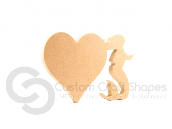Freestanding Heart with Mermaid (18mm)