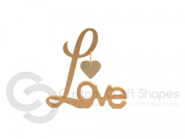 Freestanding Love with Hanging Heart (18mm)