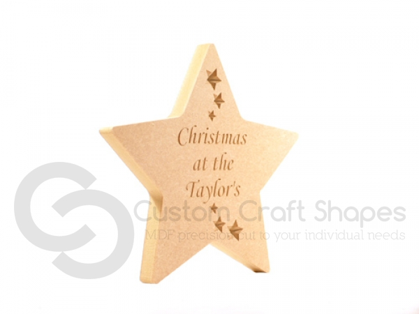 Freestanding rounded point star, Engraved 'Christmas at the ...' (18mm)