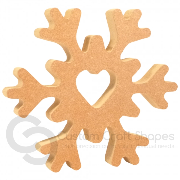 Freestanding Snowflake with Heart (18mm)
