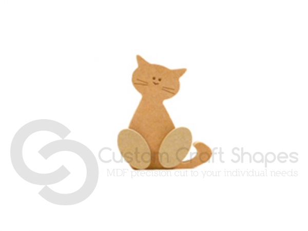 Freestanding Wonky Cat with Engraved Face and 3D Feet (18mm)