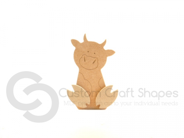 Freestanding Wonky Cow with Engraved Face and 3D Feet (18mm)