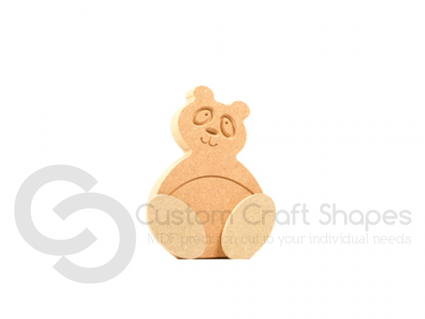 Freestanding Wonky Panda with Engraved Face and 3D Feet (18mm)