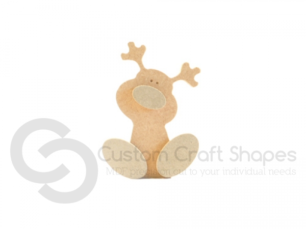 Freestanding Wonky Rudolph with Engraved Face and 3D Feet and Nose (18mm)