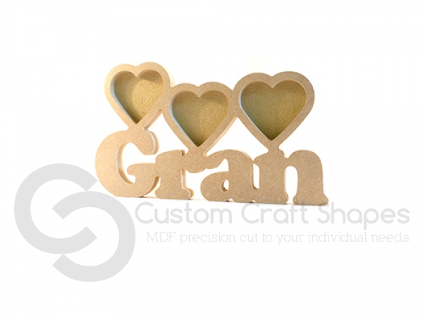 MDF Gran Photo Frame with 3 Hearts (18mm)