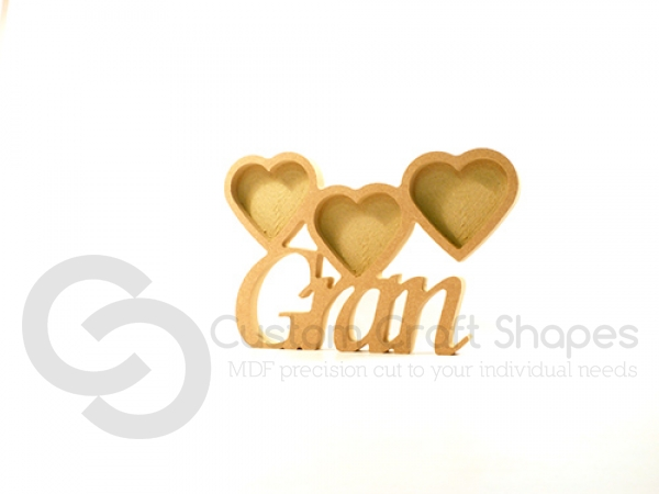 Gran Photo Frame with 3 Hearts, Corsiva Font (18mm)