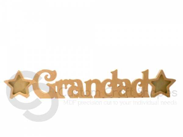 Grandad Photo Frame with 2 Stars, Victorian Font (18mm)