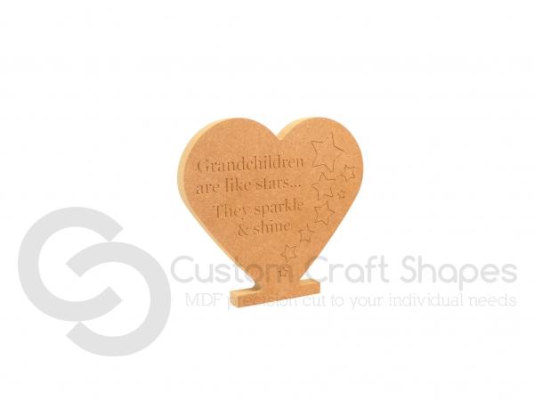 Grandchildren are like Stars... Engraved Heart (18mm)