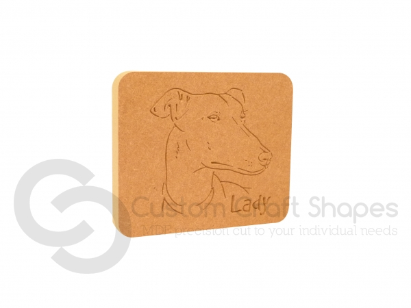 Greyhound Dog Face Plaque (18mm)
