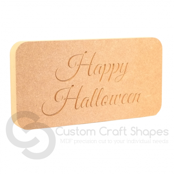 'Happy Halloween' Freestanding Plaque (18mm)