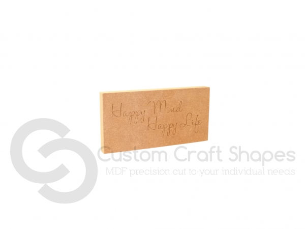 Happy Mind Happy Life, Engraved Plaque (18mm)