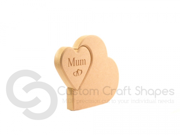 Heart in a Heart, Engraved Mum (18mm)