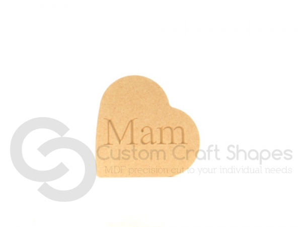 Heart on the Side, Engraved Mam (18mm)