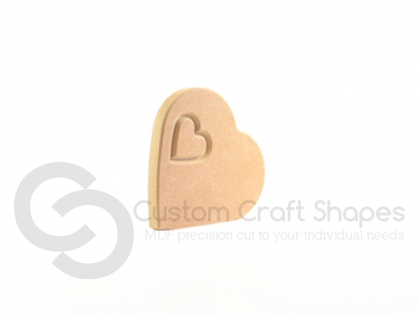 Heart on the Side, Engraved with Small Heart (18mm)