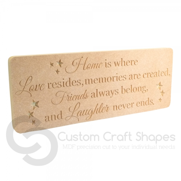 Home is where Love resides... Engraved Plaque (18mm)