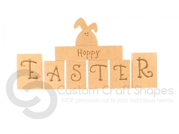 Hoppy Easter Blocks with 1 Lop Eared Bunny (18mm)