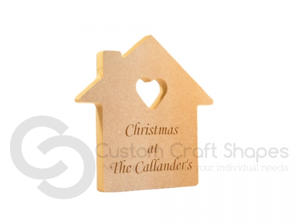 House with Heart cut out, Engraved, 'Christmas at the ...' (18mm)
