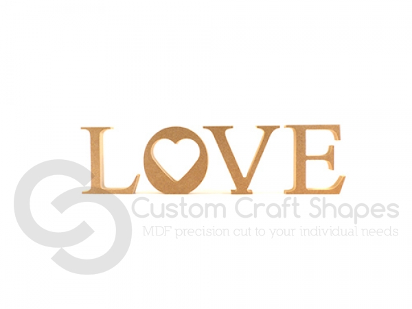 Individual freestanding LOVE with heart cut out (18mm)