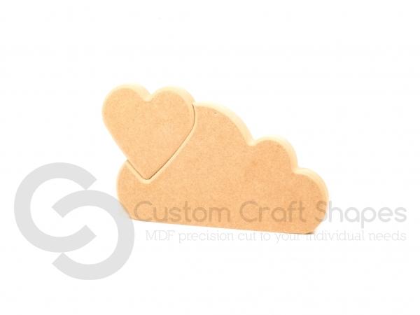Interlocking Heart in a Cloud (18mm)