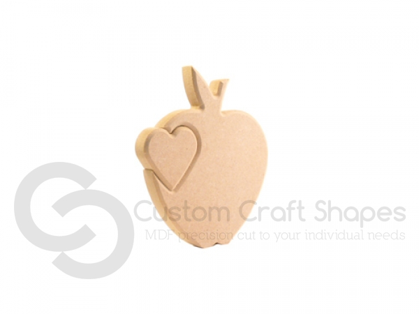 Interlocking Heart in an Apple (18mm)