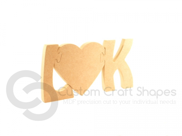 Jigsaw Initials with Heart (18mm)
