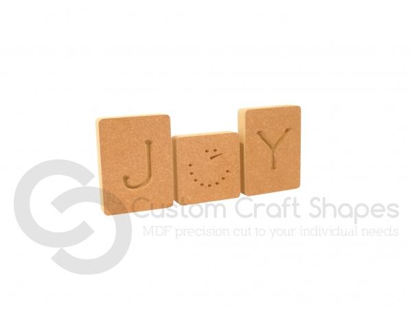Joy Letter Blocks, Engraved (18mm)