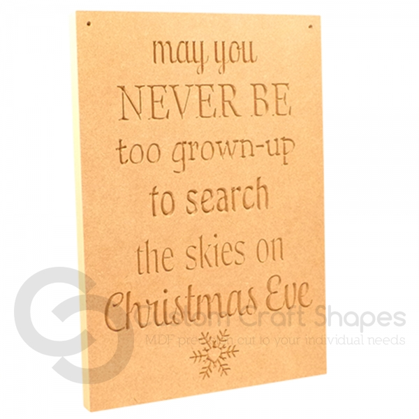 'May you never be too grown-up...' Large Engraved Plaque (18mm)