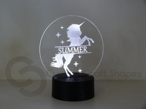 LED/Acrylic Light - Unicorn Monogram
