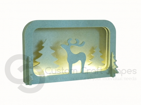 LIGHT UP Layered Reindeer Scene, with 1 Adult 6mm