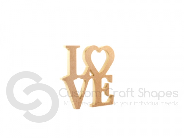 LOVE Stacked with Heart Outline (18mm)