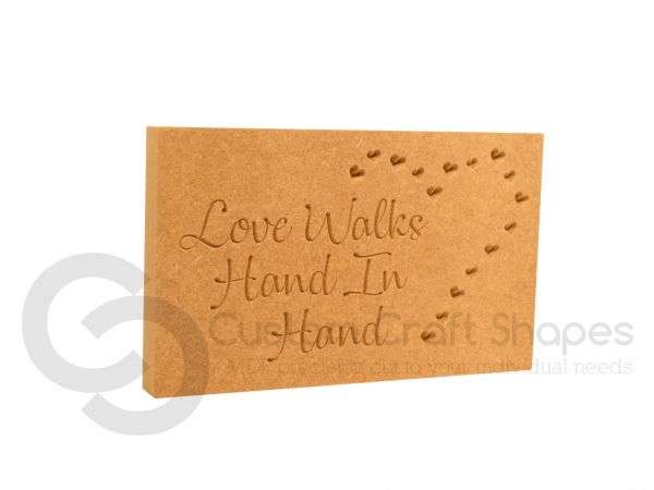 Love Walks Hand In Hand, Engraved Plaque (18mm)