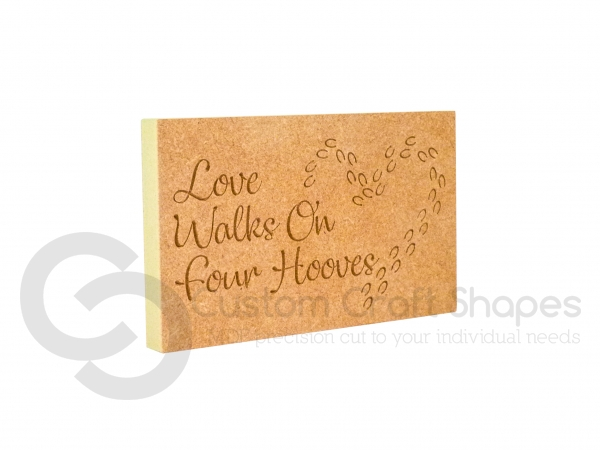 Love Walks On Four Hooves, Engraved Plaque (18mm)