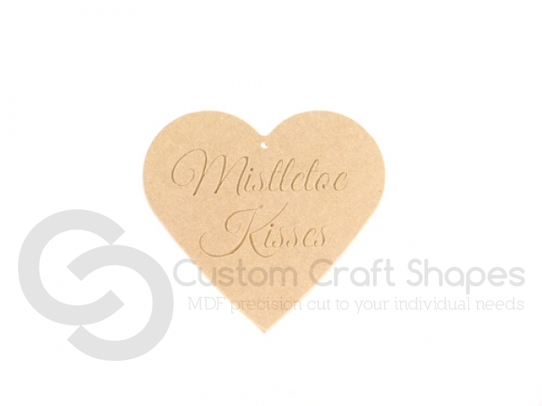 Mistletoe Kisses Heart with rounded edge (6mm)