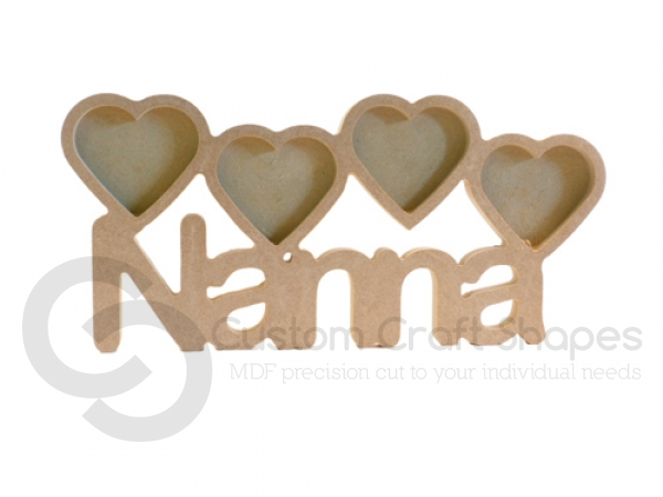 Nanna Photo Frame with 4 Hearts (18mm)