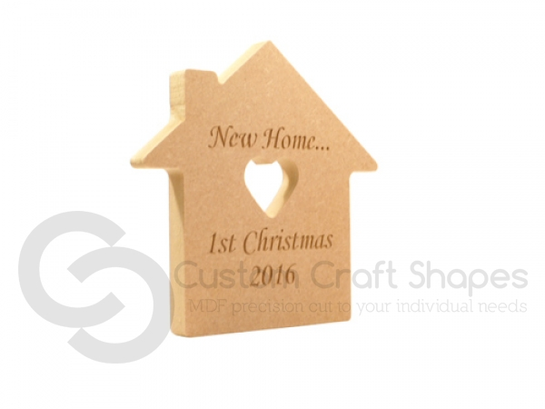 New Home... 1st Christmas House with Heart Cut Out (CENTRE) (18mm)