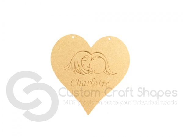 Personalised Angel Baby Hanging Heart (6mm)