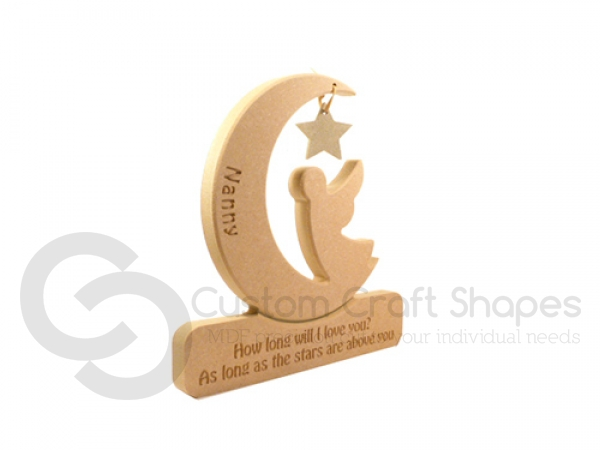 Personalised, Engraved Angel in a Moon,'How long will I love you?' (18mm)