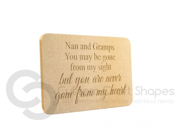 Personalised engraved plaque 'You may be gone...' (18mm)