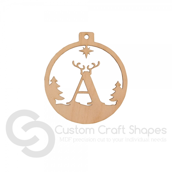 Reindeer Letter Bauble (Laser 3mm Ply)