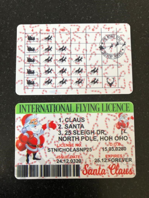 Santa Claus Flying Licence (Plastic)