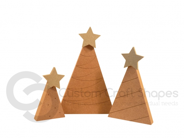 Set of 3 Engraved Trees (18mm)
