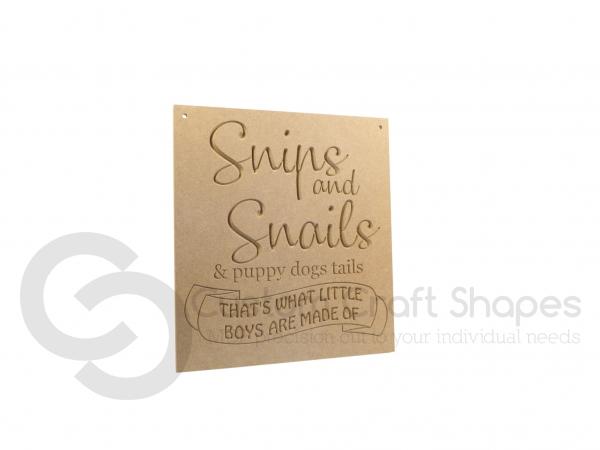 Snips & Snails... Engraved Plaque (18mm)