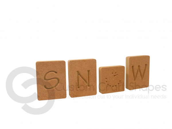 Snow Letter Blocks, Engraved (18mm)
