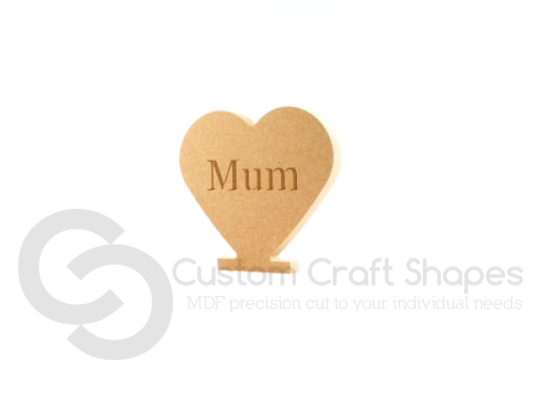 Solid Heart, Engraved Mum (18mm)