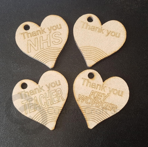 Thank You Heart Shaped Keyrings (3mm)