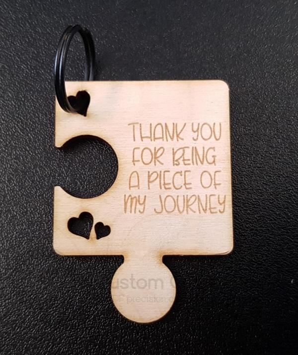 Thank You Jigsaw Piece Keyring (3mm)
