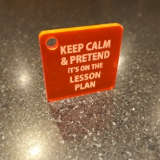 Acrylic Keyring, 'KEEP CALM & PRETEND...'